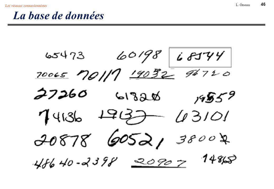 46 L. Orseau Les réseaux connexionnistes La base de données