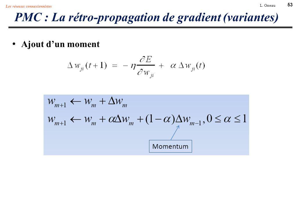 53 L. Orseau Les réseaux connexionnistes PMC : La rétro-propagation de gradient (variantes) Ajout dun moment