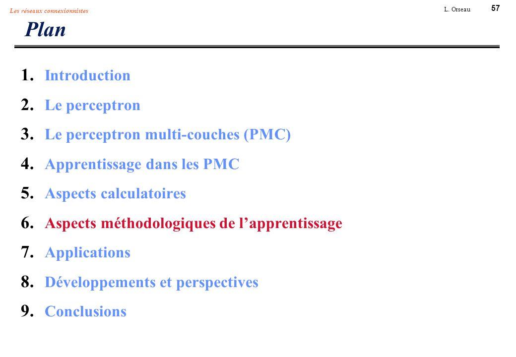 57 L. Orseau Les réseaux connexionnistes Plan 1. Introduction 2. Le perceptron 3. Le perceptron multi-couches (PMC) 4. Apprentissage dans les PMC 5. A