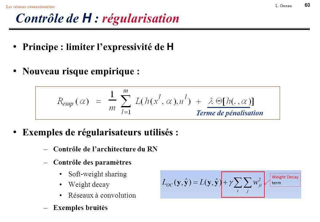 60 L. Orseau Les réseaux connexionnistes Contrôle de H : régularisation Principe : limiter lexpressivité de H Nouveau risque empirique : Exemples de r