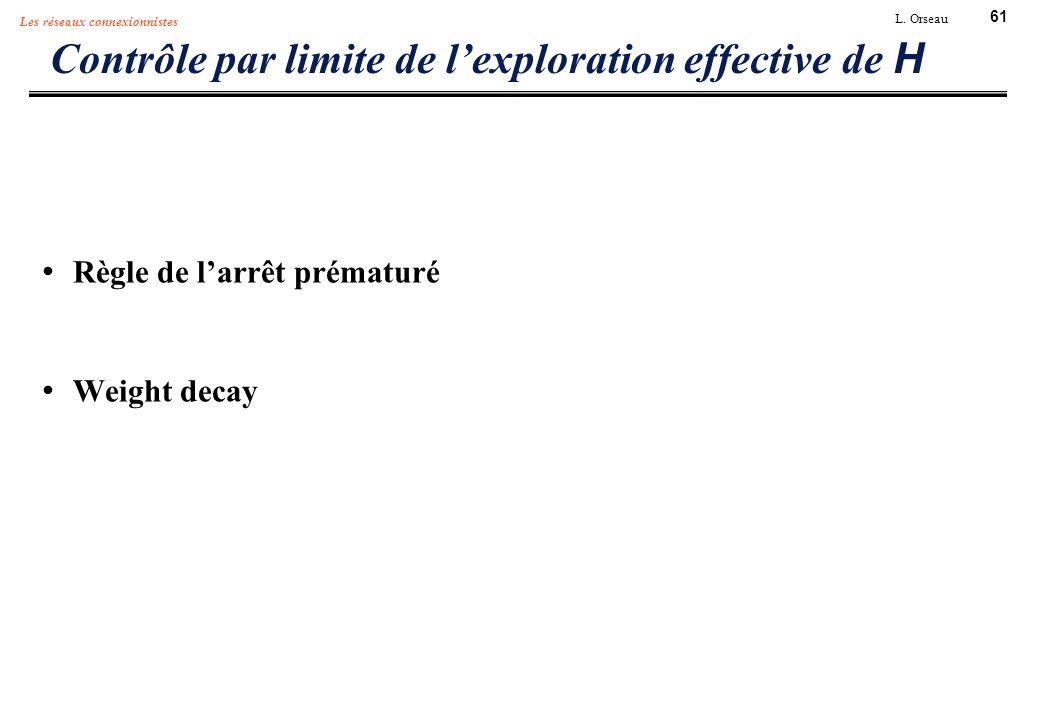 61 L. Orseau Les réseaux connexionnistes Contrôle par limite de lexploration effective de H Règle de larrêt prématuré Weight decay