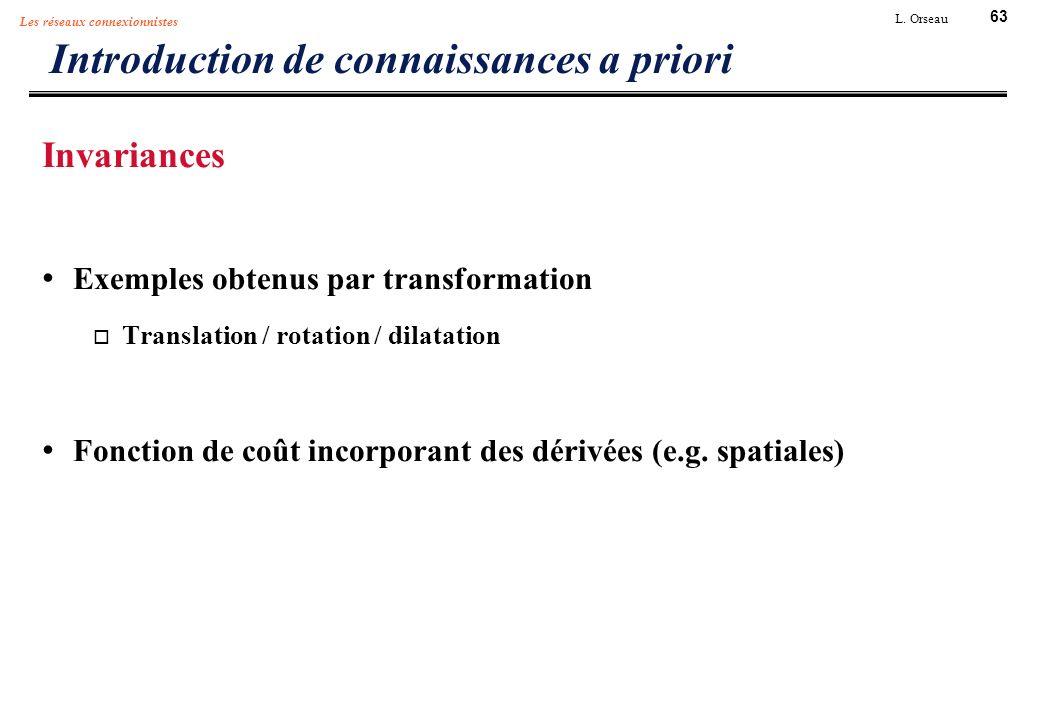 63 L. Orseau Les réseaux connexionnistes Introduction de connaissances a priori Invariances Exemples obtenus par transformation Translation / rotation