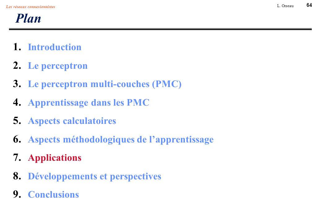 64 L. Orseau Les réseaux connexionnistes Plan 1. Introduction 2. Le perceptron 3. Le perceptron multi-couches (PMC) 4. Apprentissage dans les PMC 5. A