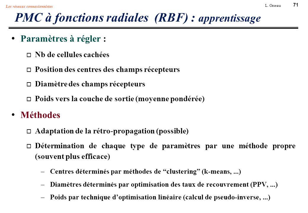 71 L. Orseau Les réseaux connexionnistes PMC à fonctions radiales (RBF) : apprentissage Paramètres à régler : Nb de cellules cachées Position des cent