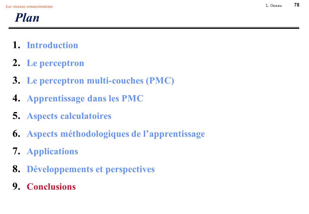 78 L. Orseau Les réseaux connexionnistes Plan 1. Introduction 2. Le perceptron 3. Le perceptron multi-couches (PMC) 4. Apprentissage dans les PMC 5. A