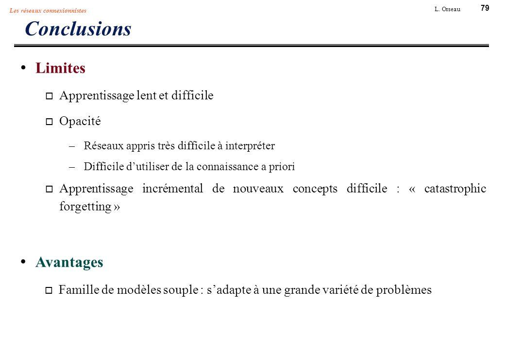 79 L. Orseau Les réseaux connexionnistes Conclusions Limites Apprentissage lent et difficile Opacité –Réseaux appris très difficile à interpréter –Dif