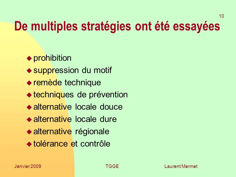 Laurent Mermet 10 Janvier 2009TGGE De multiples stratégies ont été essayées u prohibition u suppression du motif u remède technique u techniques de pr
