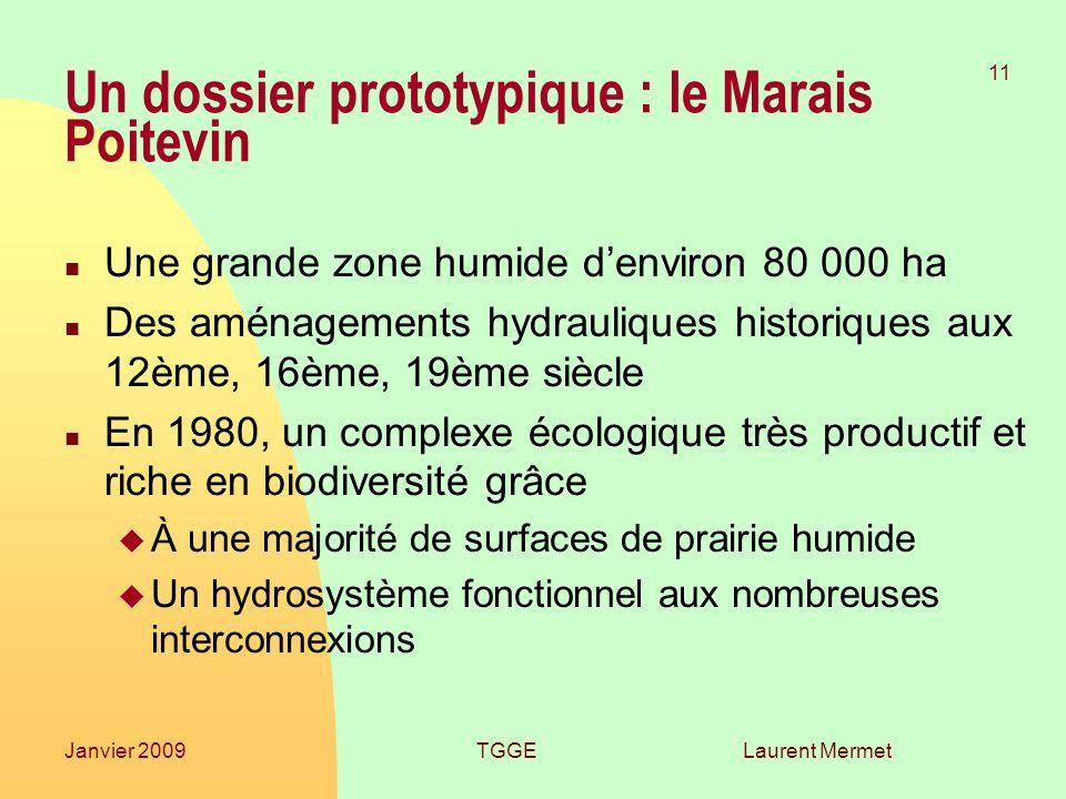 Laurent Mermet 11 Janvier 2009TGGE Un dossier prototypique : le Marais Poitevin n Une grande zone humide denviron 80 000 ha n Des aménagements hydraul