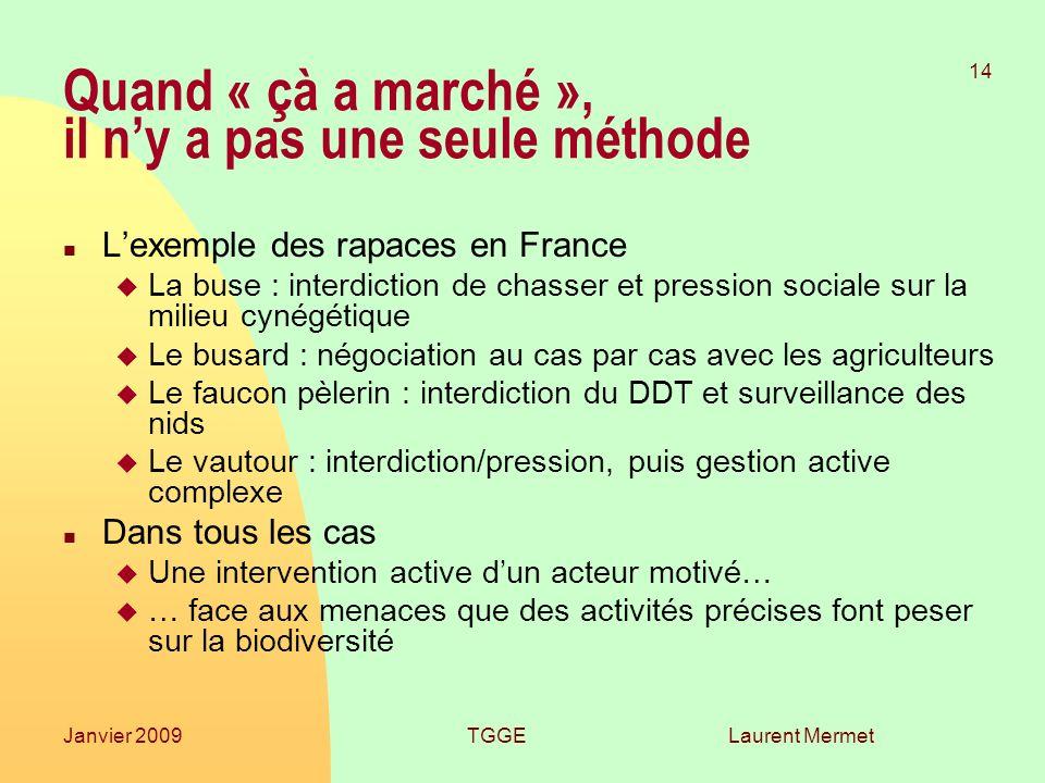 Laurent Mermet 14 Janvier 2009TGGE Quand « çà a marché », il ny a pas une seule méthode n Lexemple des rapaces en France u La buse : interdiction de c