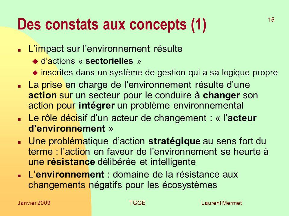 Laurent Mermet 15 Janvier 2009TGGE Des constats aux concepts (1) n Limpact sur lenvironnement résulte u dactions « sectorielles » u inscrites dans un