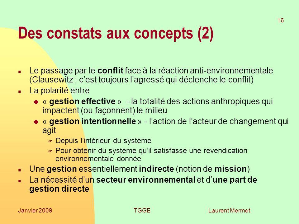Laurent Mermet 16 Janvier 2009TGGE Des constats aux concepts (2) n Le passage par le conflit face à la réaction anti-environnementale (Clausewitz : ce