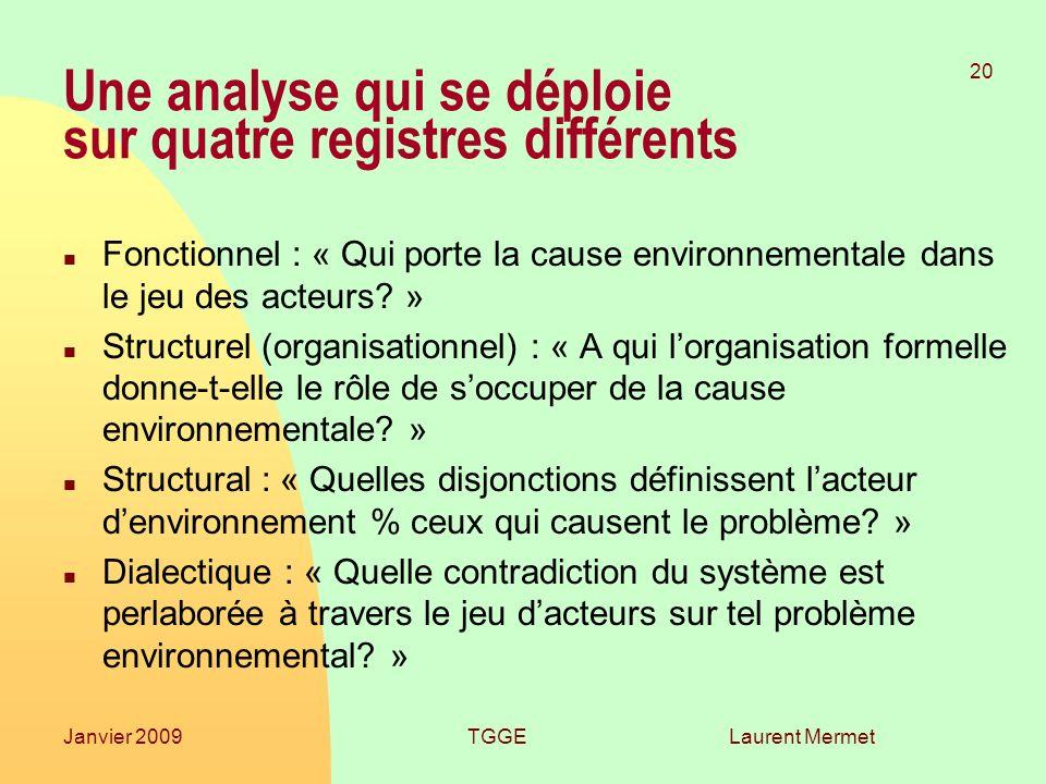 Laurent Mermet 20 Janvier 2009TGGE Une analyse qui se déploie sur quatre registres différents n Fonctionnel : « Qui porte la cause environnementale dans le jeu des acteurs.