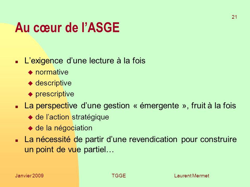 Laurent Mermet 21 Janvier 2009TGGE Au cœur de lASGE n Lexigence dune lecture à la fois u normative u descriptive u prescriptive n La perspective dune