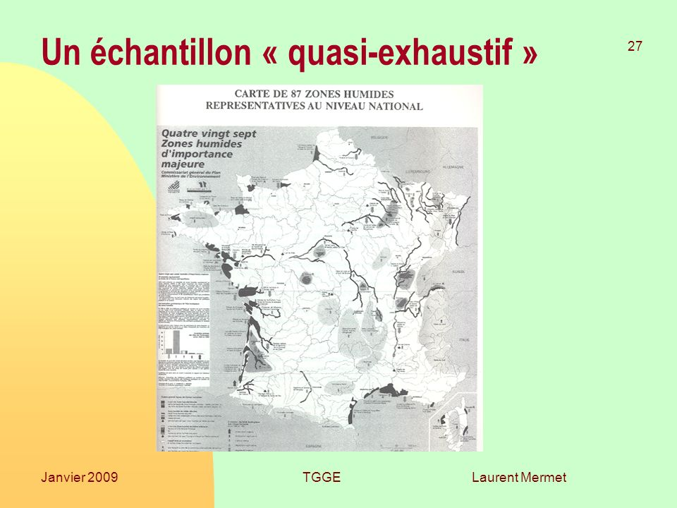 Laurent Mermet 27 Janvier 2009TGGE Un échantillon « quasi-exhaustif »