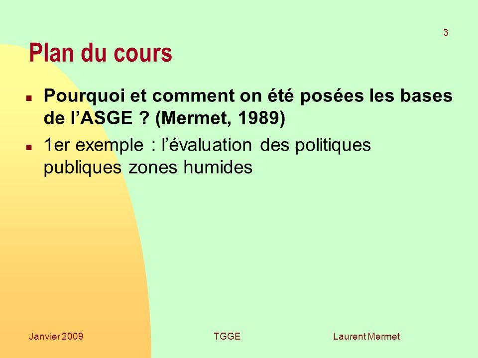 Laurent Mermet 3 Janvier 2009TGGE Plan du cours n Pourquoi et comment on été posées les bases de lASGE ? (Mermet, 1989) n 1er exemple : lévaluation de