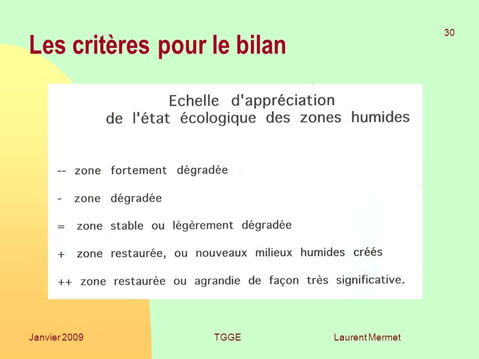 Laurent Mermet 30 Janvier 2009TGGE Les critères pour le bilan