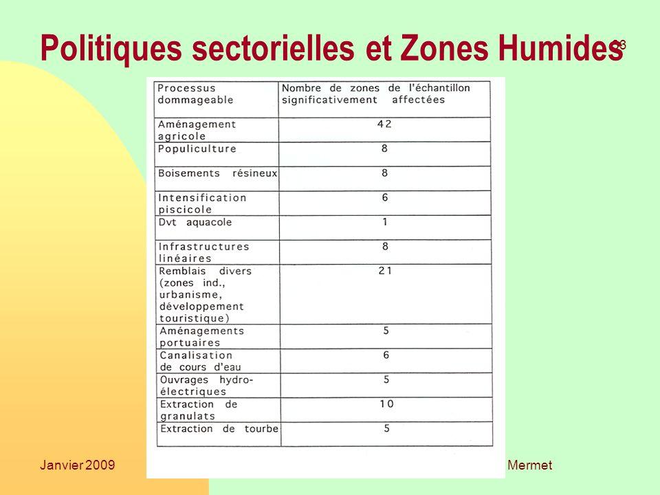 Laurent Mermet 33 Janvier 2009TGGE Politiques sectorielles et Zones Humides