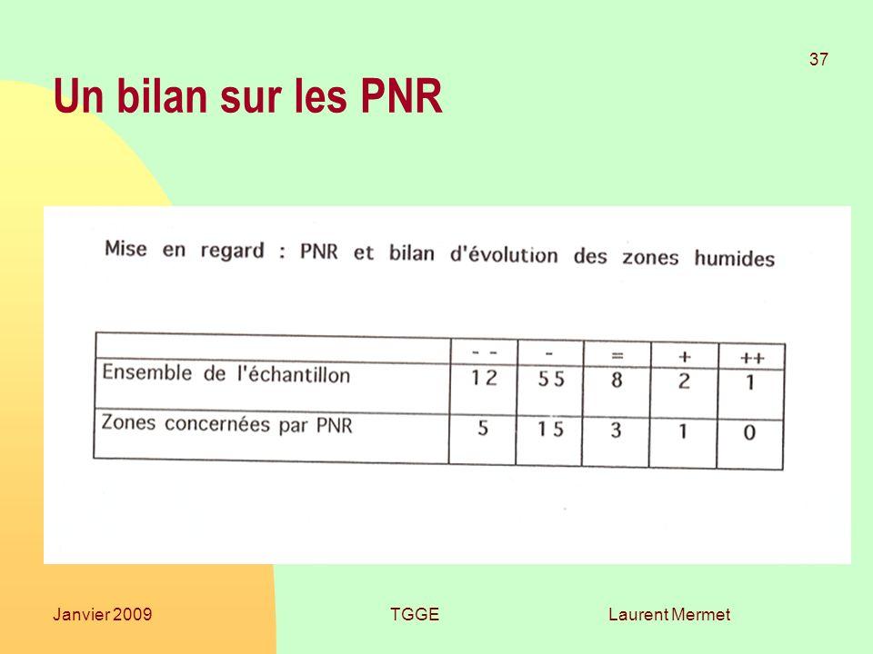 Laurent Mermet 37 Janvier 2009TGGE Un bilan sur les PNR