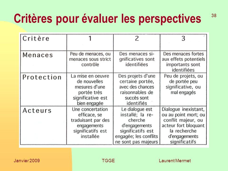 Laurent Mermet 38 Janvier 2009TGGE Critères pour évaluer les perspectives