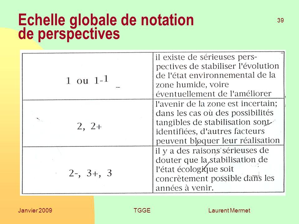 Laurent Mermet 39 Janvier 2009TGGE Echelle globale de notation de perspectives