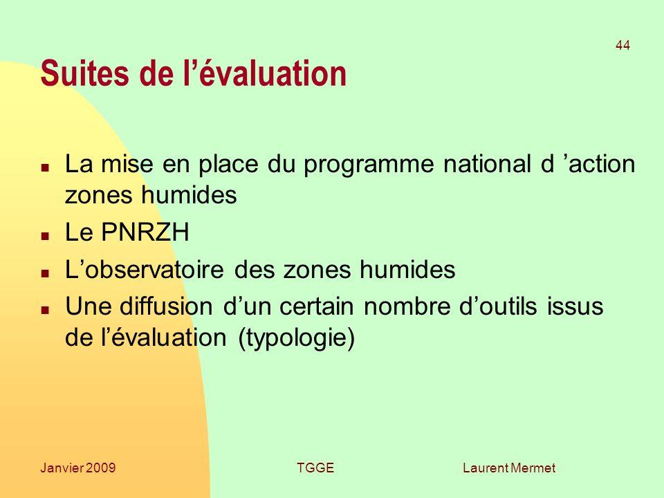 Laurent Mermet 44 Janvier 2009TGGE Suites de lévaluation n La mise en place du programme national d action zones humides n Le PNRZH n Lobservatoire de