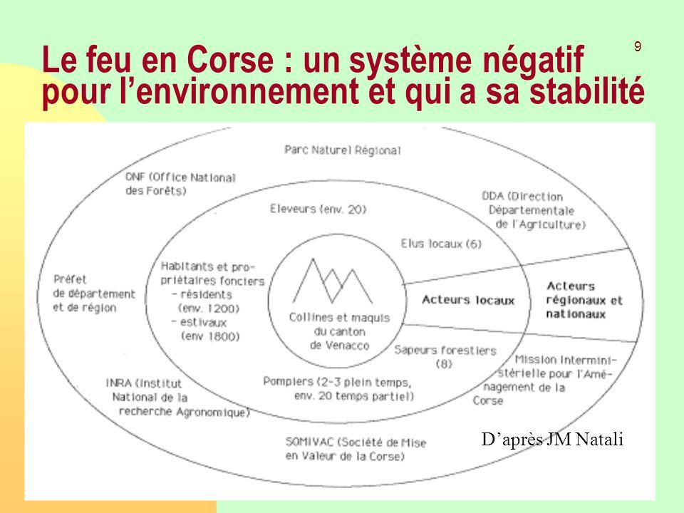 Laurent Mermet 9 Janvier 2009TGGE Le feu en Corse : un système négatif pour lenvironnement et qui a sa stabilité Daprès JM Natali