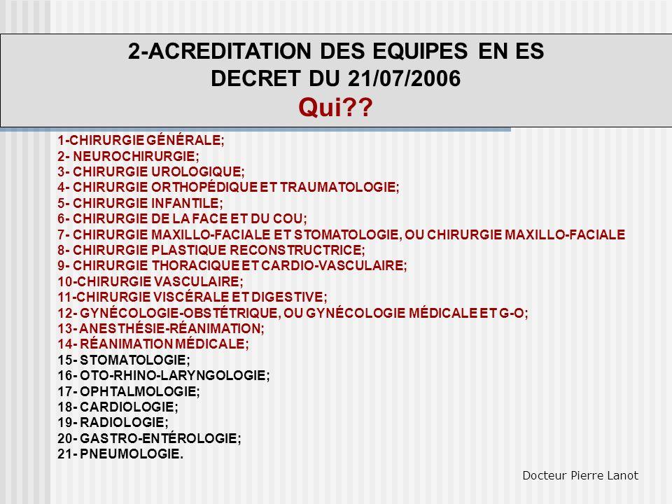 2-ACREDITATION DES EQUIPES EN ES DECRET DU 21/07/2006 Qui?? 1-CHIRURGIE GÉNÉRALE; 2- NEUROCHIRURGIE; 3- CHIRURGIE UROLOGIQUE; 4- CHIRURGIE ORTHOPÉDIQU