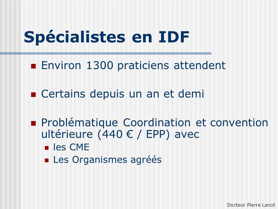 Spécialistes en IDF Environ 1300 praticiens attendent Certains depuis un an et demi Problématique Coordination et convention ultérieure (440 / EPP) av