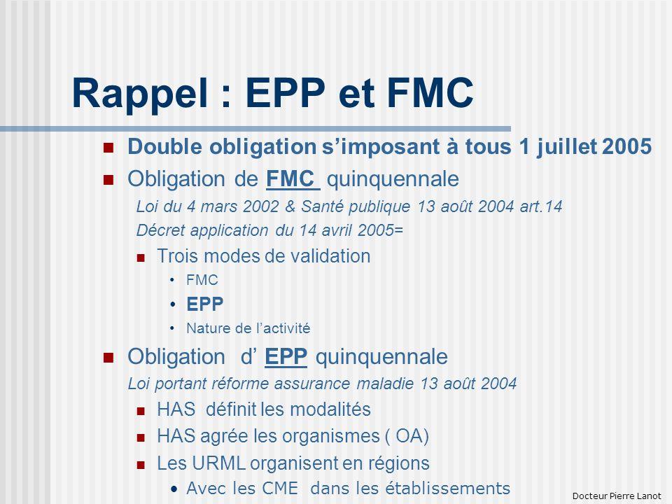 Rappel : EPP et FMC Double obligation simposant à tous 1 juillet 2005 Obligation de FMC quinquennale Loi du 4 mars 2002 & Santé publique 13 août 2004