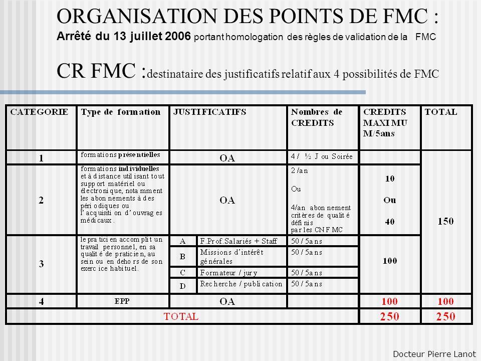 ORGANISATION DES POINTS DE FMC : Arrêté du 13 juillet 2006 portant homologation des règles de validation de la FMC CR FMC : destinataire des justifica