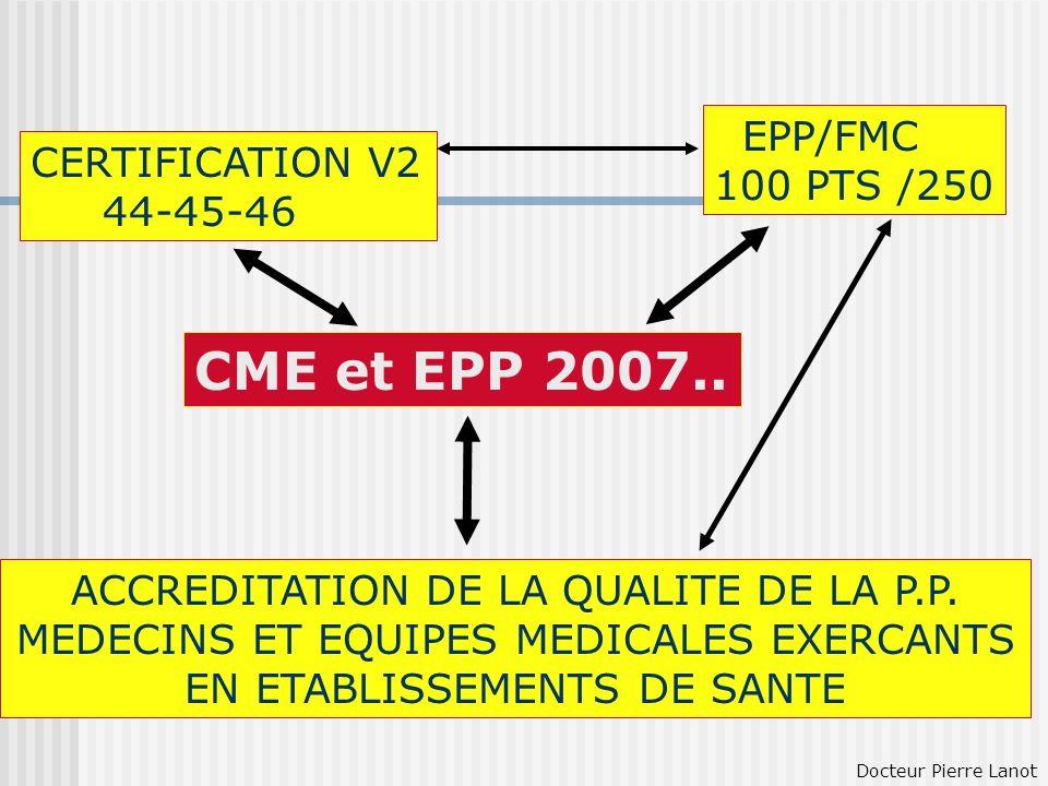 CME et EPP 2007.. EPP/FMC 100 PTS /250 CERTIFICATION V2 44-45-46 ACCREDITATION DE LA QUALITE DE LA P.P. MEDECINS ET EQUIPES MEDICALES EXERCANTS EN ETA