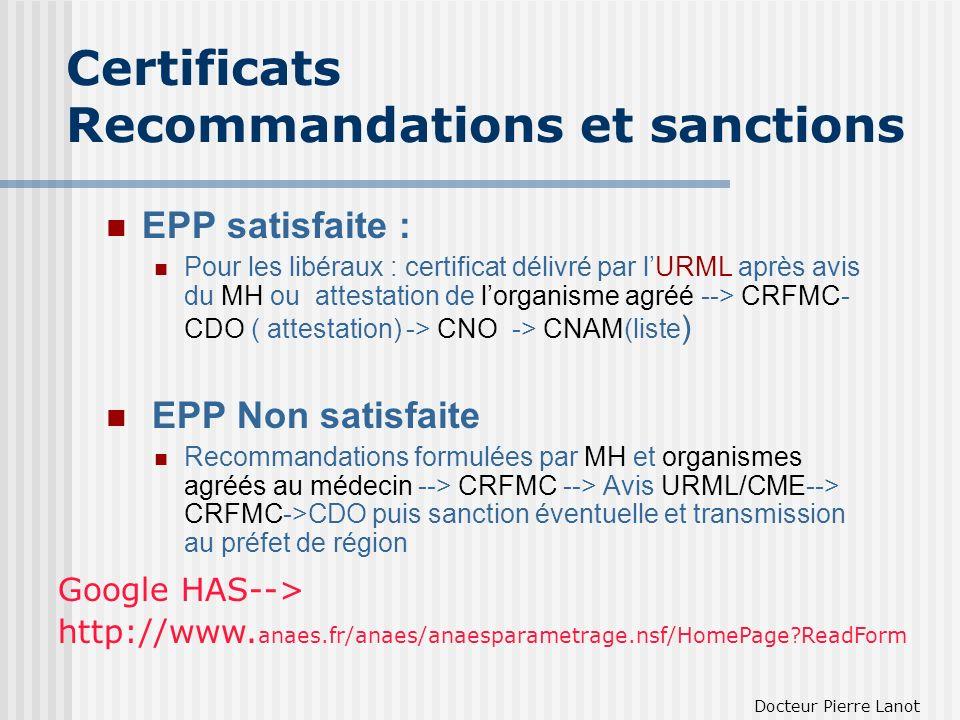 Certificats Recommandations et sanctions EPP satisfaite : Pour les libéraux : certificat délivré par lURML après avis du MH ou attestation de lorganis