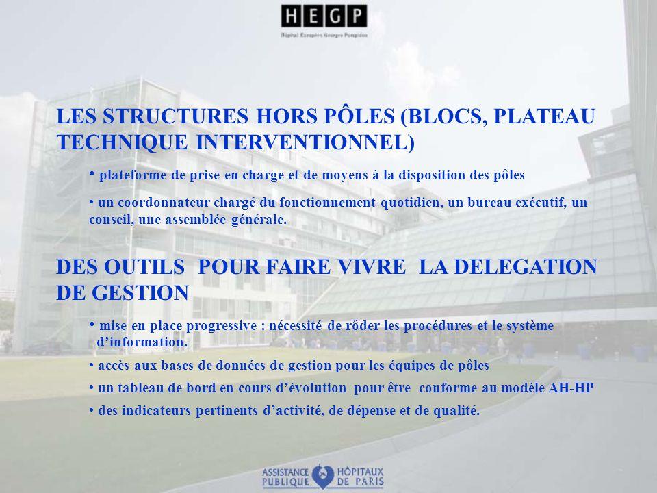 LES STRUCTURES HORS PÔLES (BLOCS, PLATEAU TECHNIQUE INTERVENTIONNEL) plateforme de prise en charge et de moyens à la disposition des pôles un coordonn