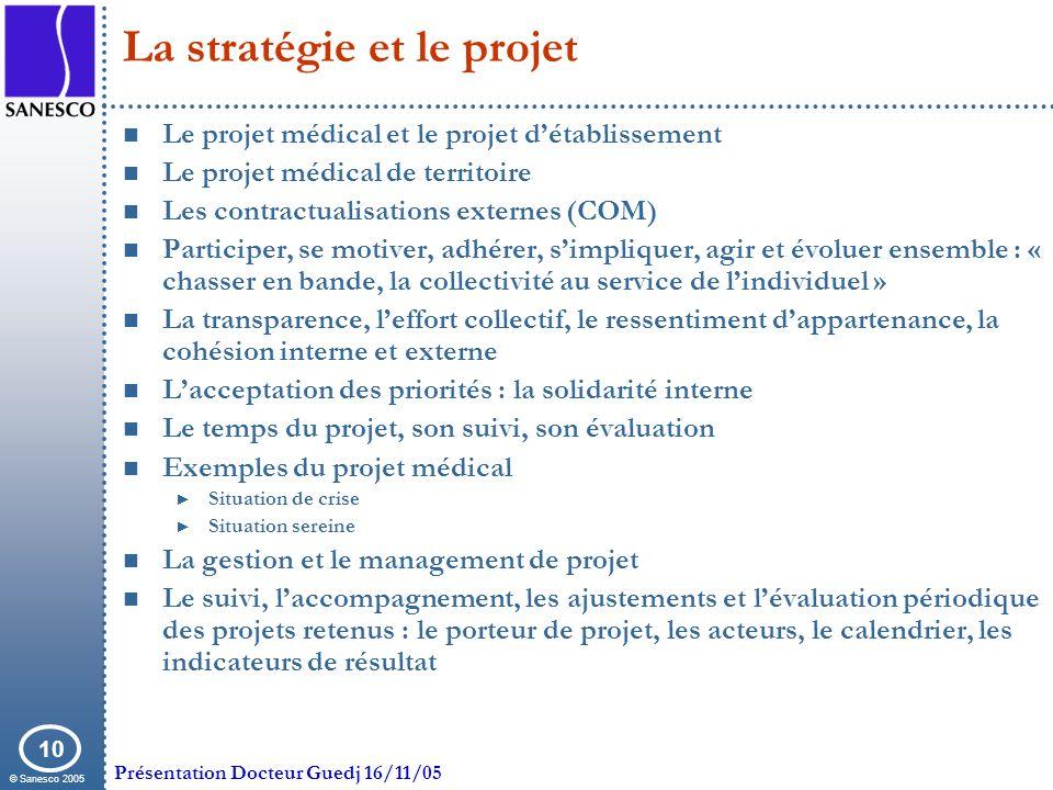 © Sanesco 2005 Présentation Docteur Guedj 16/11/05 10 La stratégie et le projet Le projet médical et le projet détablissement Le projet médical de ter