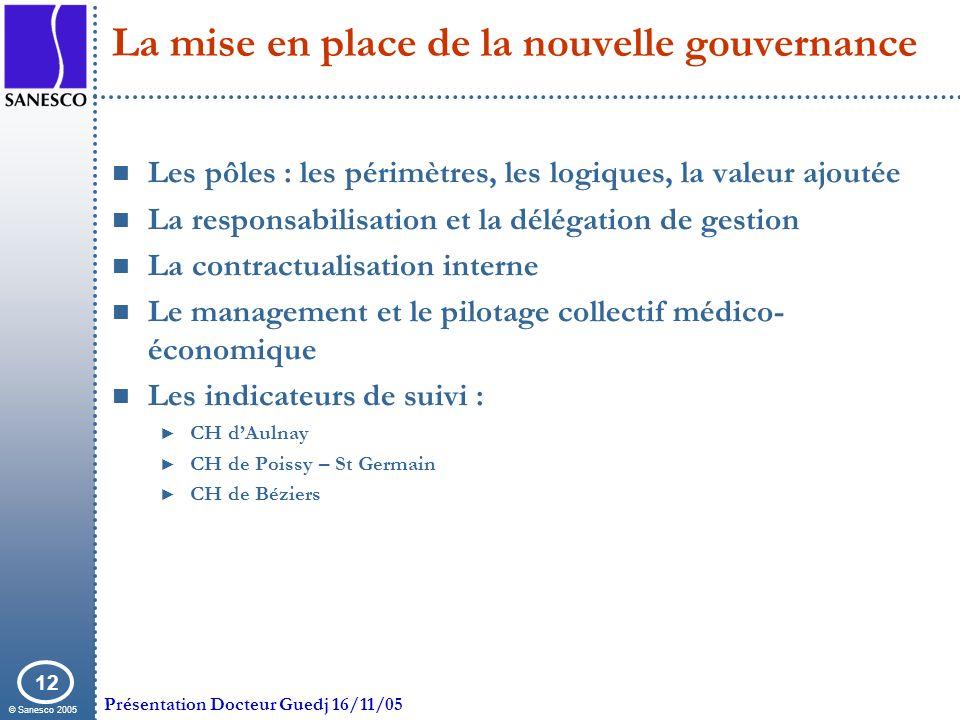 © Sanesco 2005 Présentation Docteur Guedj 16/11/05 12 La mise en place de la nouvelle gouvernance Les pôles : les périmètres, les logiques, la valeur