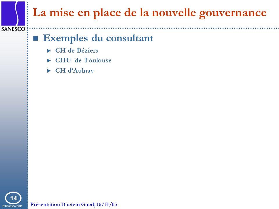 © Sanesco 2005 Présentation Docteur Guedj 16/11/05 14 La mise en place de la nouvelle gouvernance Exemples du consultant CH de Béziers CHU de Toulouse