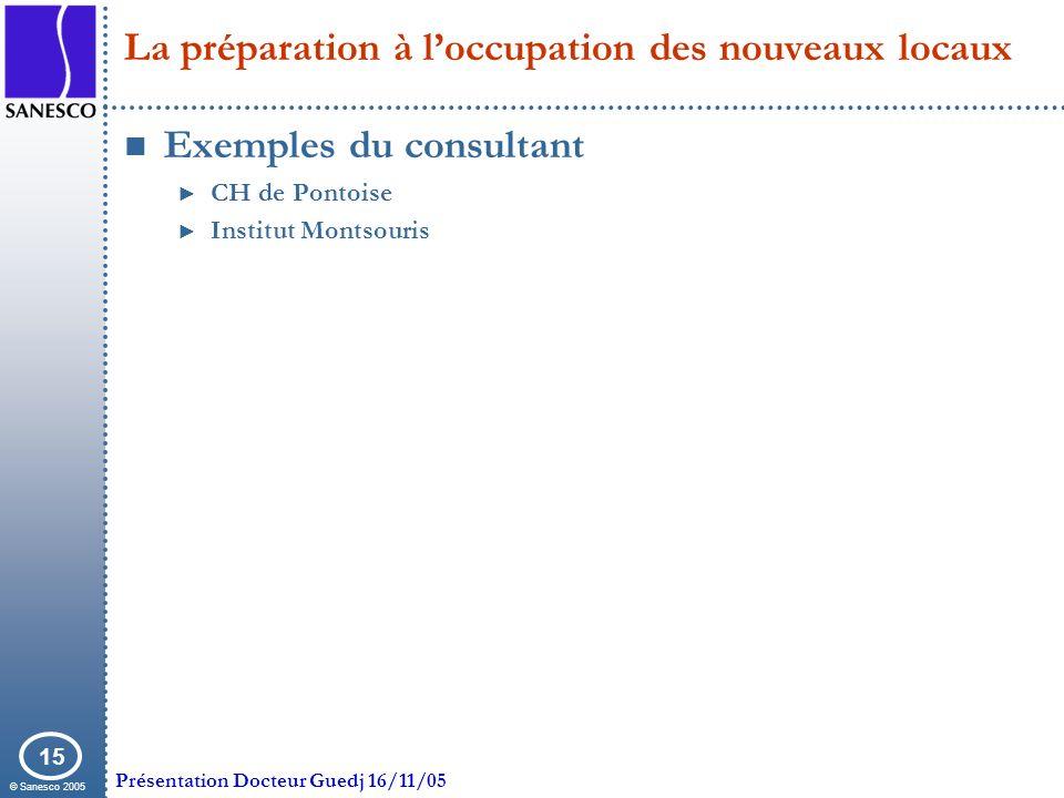 © Sanesco 2005 Présentation Docteur Guedj 16/11/05 15 La préparation à loccupation des nouveaux locaux Exemples du consultant CH de Pontoise Institut