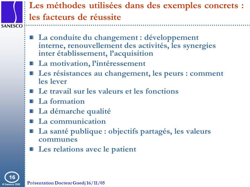© Sanesco 2005 Présentation Docteur Guedj 16/11/05 16 Les méthodes utilisées dans des exemples concrets : les facteurs de réussite La conduite du chan