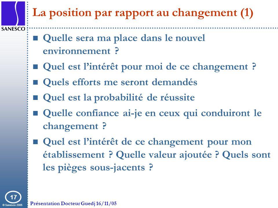 © Sanesco 2005 Présentation Docteur Guedj 16/11/05 17 La position par rapport au changement (1) Quelle sera ma place dans le nouvel environnement ? Qu