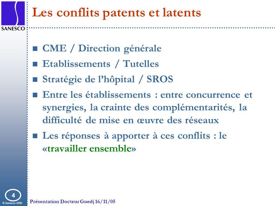 © Sanesco 2005 Présentation Docteur Guedj 16/11/05 4 Les conflits patents et latents CME / Direction générale Etablissements / Tutelles Stratégie de l