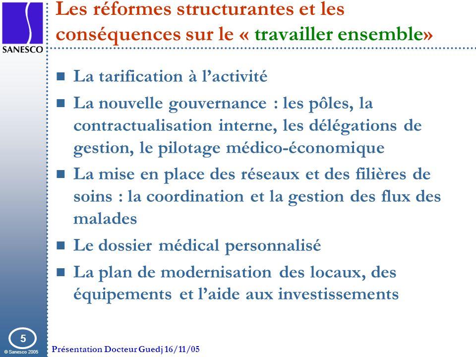© Sanesco 2005 Présentation Docteur Guedj 16/11/05 5 Les réformes structurantes et les conséquences sur le « travailler ensemble» La tarification à la