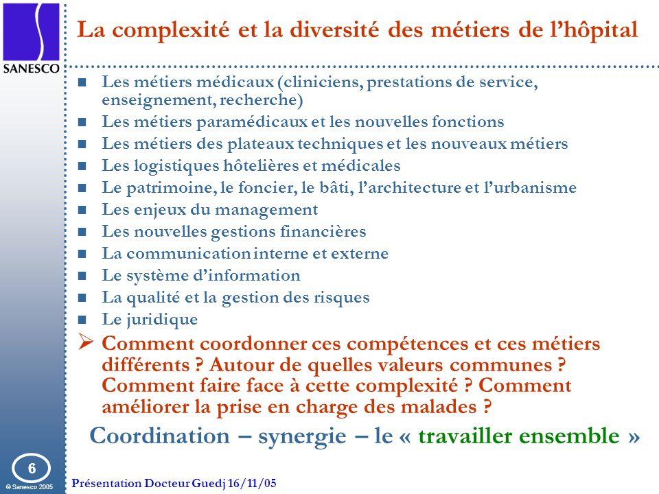 © Sanesco 2005 Présentation Docteur Guedj 16/11/05 6 La complexité et la diversité des métiers de lhôpital Les métiers médicaux (cliniciens, prestatio