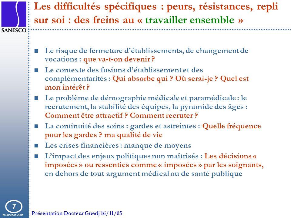 © Sanesco 2005 Présentation Docteur Guedj 16/11/05 7 Les difficultés spécifiques : peurs, résistances, repli sur soi : des freins au « travailler ense