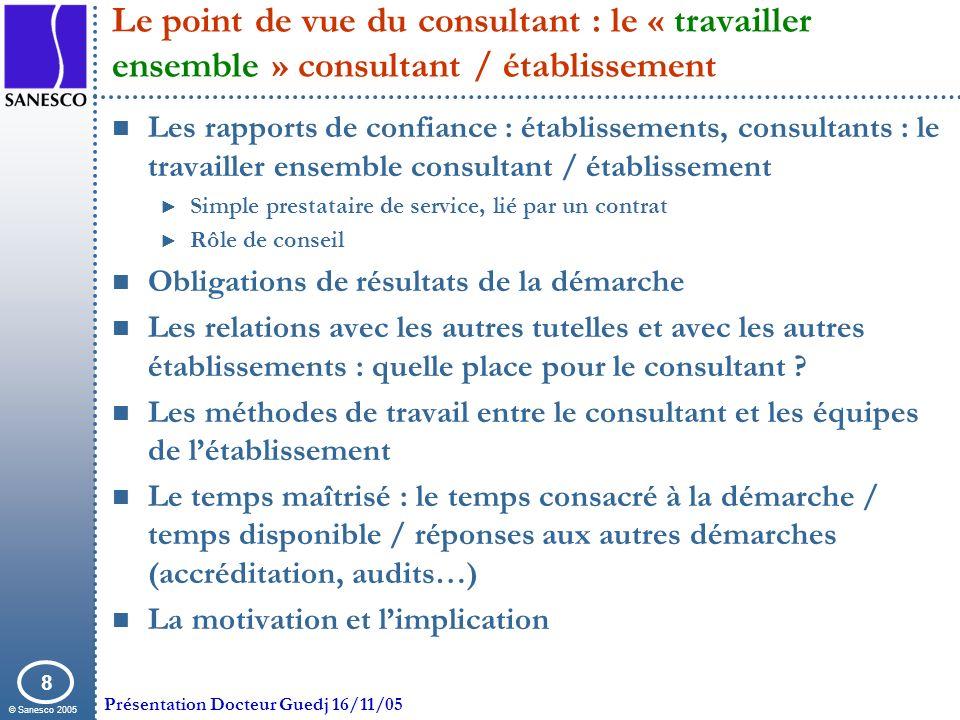 © Sanesco 2005 Présentation Docteur Guedj 16/11/05 8 Le point de vue du consultant : le « travailler ensemble » consultant / établissement Les rapport
