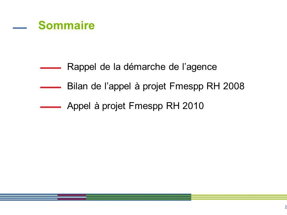 2 Sommaire Rappel de la démarche de lagence Bilan de lappel à projet Fmespp RH 2008 Appel à projet Fmespp RH 2010