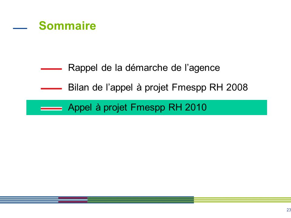 23 Sommaire Rappel de la démarche de lagence Bilan de lappel à projet Fmespp RH 2008 Appel à projet Fmespp RH 2010