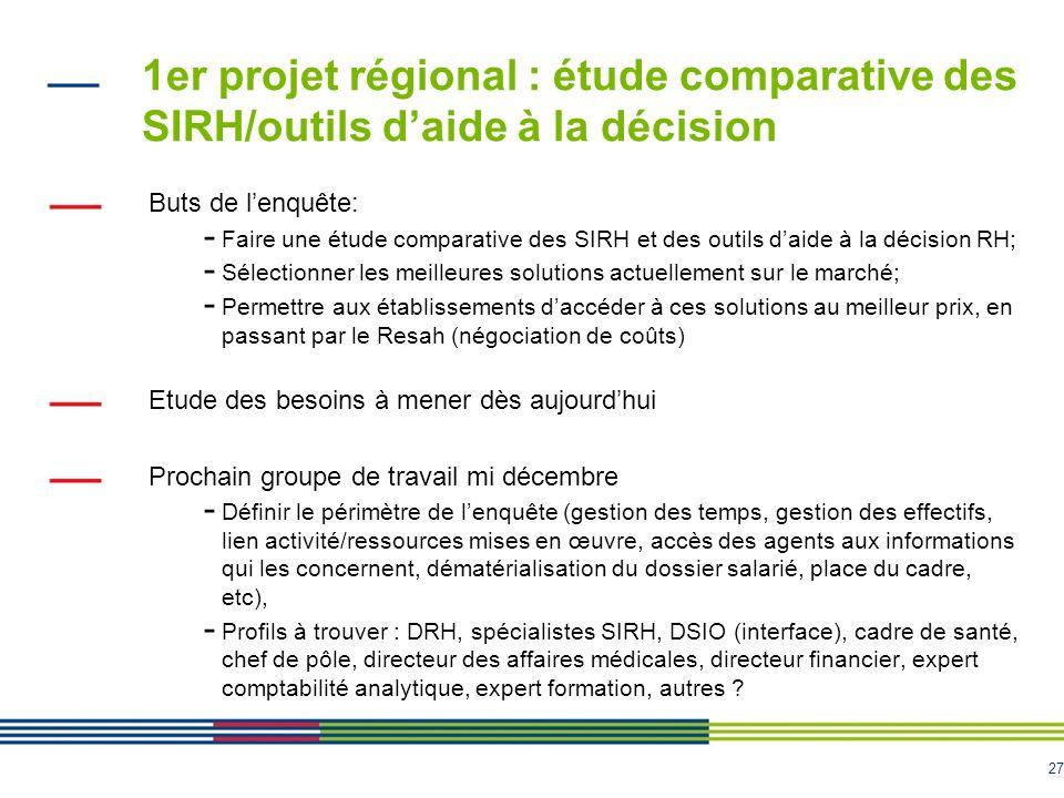 27 1er projet régional : étude comparative des SIRH/outils daide à la décision Buts de lenquête: - Faire une étude comparative des SIRH et des outils