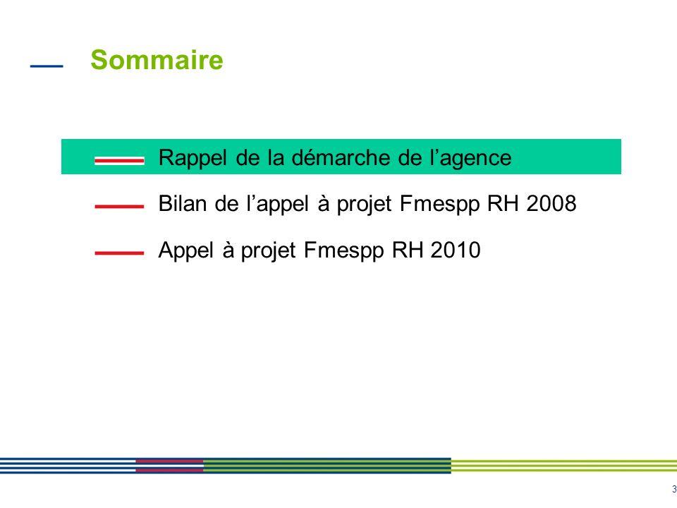 3 Sommaire Rappel de la démarche de lagence Bilan de lappel à projet Fmespp RH 2008 Appel à projet Fmespp RH 2010