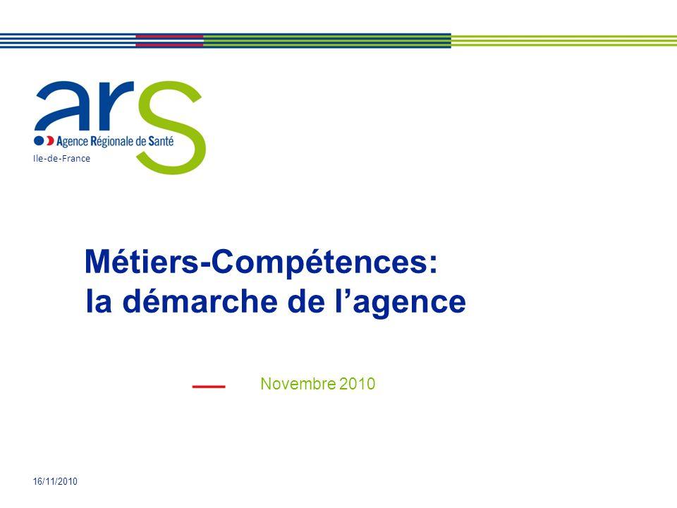 16/11/2010 Métiers-Compétences: la démarche de lagence Novembre 2010 Ile-de-France