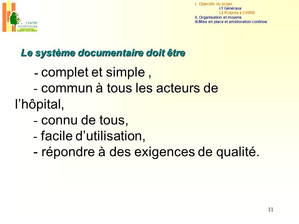 11 - complet et simple, - commun à tous les acteurs de lhôpital, - connu de tous, - facile dutilisation, - répondre à des exigences de qualité. Le sys